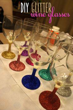 DIY Glitter Wine Glasses #diy #project #wineglasses #glitter for my bridesmaids :)