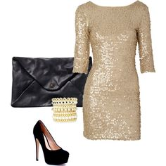 I would love to own a sequin gold dress. So simple but a statement with black shoes and gold accessories.