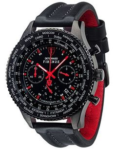 DETOMASO Firenze Mens XXL Watch Quartz Analogue Chronograph Black Red Leather Strap DT1045-E, http://www.amazon.com/dp/B0117B389K/ref=cm_sw_r_pi_awdm_7Y.Svb1Y3FK0P