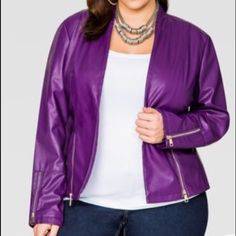 "ACAI FAUX LEATHER PEPLUM BLAZER JACKET, SZ 14 NWOT.  Smooth faux leather and exposed zip detailing.  Open front. Shawl collar. Zip detail at hem and cuffs. Ribbed knit inserts at sleeves.  Approx. measures 26"" in length. Ashley Stewart Jackets & Coats"