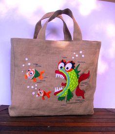 SEA LIFE - Summer 2012  -  Beach tote summer bag  Eco friendly  Jute tote handbag by Apopsis