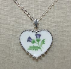 Broken China Jewelry Aynsley Scottish Thistle by robinsrelics, $36.00