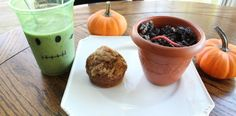 Allergy Free Halloween Snacks, dirt pudding, frankenstein smoothie, and pumpkin muffins.