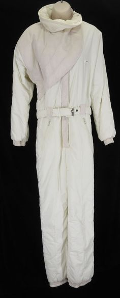 3eaa22411a Ellesse 8 Cream Pink Womens One Piece Snow Ski Suit Vintage 80s 90s Italy