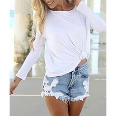 white tee and denim cutoffs: perfect for Spring/Summer