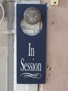 In Session Door Knob Hanger - Navy Blue Business Retail Shop Spa Wood Vinyl Sign on Etsy, $14.99