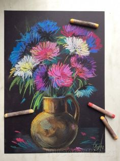 56 Flower Drawing Ideas Colored With Crayons - Art Chalk Pastel Art, Soft Pastel Art, Pastel Artwork, Oil Pastel Paintings, Oil Pastel Drawings, Chalk Pastels, Art Drawings, Oil Pastels, Crayon Drawings