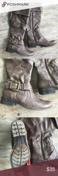 BEAR TRAPS Riding Boots Lightly worn. Apron shaft with harness buckle strap accents at the throat and collar. Outside zip detail. Man-made upper. Textile lining offers a soft and comfortable environment for your feet. Bear Traps Shoes