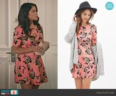 Jane's pink rose print dress on Jane the Virgin.  Outfit Details: http://wornontv.net/54325/ #JanetheVirgin