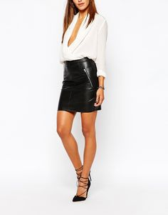 Image 4 of Missguided Leather Look Mini Skirt