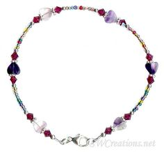 This pretty purple heart gemstone anklet. Beaded anklet, 8 inches in size, and created with purple fluorite heart gemstones, seed beads, ruby Swarovski Austrian crystals Beaded Anklets, Beaded Necklace, Ruby Crystal, 925 Silver, Sterling Silver, Ankle Bracelets, Wedding Jewelry, Bling, Gemstones