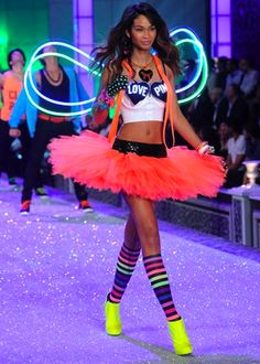 Victoria's Secret fashion show. The gaudy bright accessories and tutu work for a Rave.