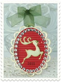 Christmas Ornament with JustRite Font designed by Sharon Harnist