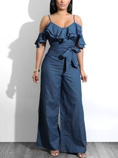 9a5df014207 Shop Layered Ruffles Belted Slip Denim Jumpsuit – Discover sexy women  fashion at IVRose