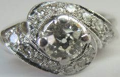 Antique European Diamond Engagement Solitaire Ring 14K Art Deco Vintage Estate #Engagement