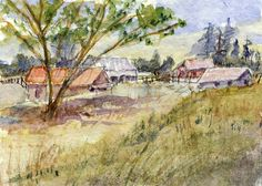 """Farmland"" ACEO, Art Card (2.5X3.5in.),Barn,Farm , Calf, Impressionism, B. Jones #Miniature"