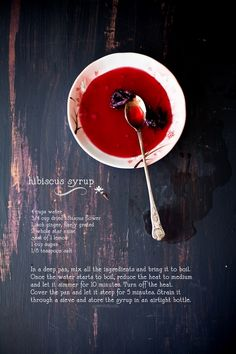 Recipe card for Hibiscus Syrup @ Sunshine and Smile