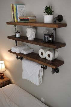 **Please read item description below** This towel bar/shelving unit combo is perfect for any bathroom. The industrial design allows it to be easily integrated into most interior designs or blended… Diy Pipe Shelves, Industrial Pipe Shelves, Storage Shelves, Floating Shelves, Glass Shelves, Kitchen Industrial, Towel Storage, Laundry Storage, Plumbers Pipe Shelving