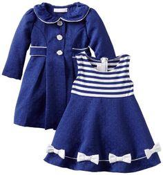 Amazon.com: Bonnie Baby Girls Infant Navy Coat Set: Clothing