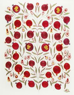 A pomegranate embroidered wall hanging. Note Madina's signature bottom right.