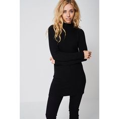 Black Ribbed Neck Longline Jumper Dress Ex-branded