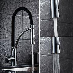 Auralum® 360°Drehbar Schwarz Armatur Küchenarmatur Wasserhahn Waschtischarmatur Küche WaschbeckenarmaturMischbatterie