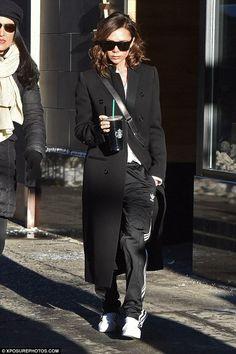 Victoria Beckham wearing Victoria Beckham Half Moon Bag and Adidas Superstar 80s Vintage Deluxe