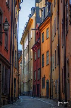 One of the most photographed street in the old town in Stockholm, Sweden