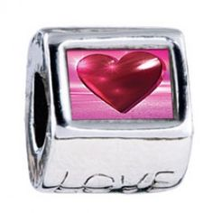 Red Heart Photo Love Charms  Fit pandora,trollbeads,chamilia,biagi,soufeel and any customized bracelet/necklaces. #Jewelry #Fashion #Silver# handcraft #DIY #Accessory