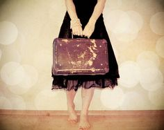BOGO - Bon Voyage Mademoiselle - whimsical vacation fine art photography - girl with a vintage suitcase - 8x10 print