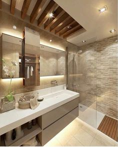 Modern Bathroom by Cct investments - cct 101 project in beylikduzu - - Wood Bathroom, Bathroom Renos, Master Bathroom, Bathroom Lighting, Bathroom Ideas, Bathroom Cabinets, Bathroom Vanities, Bathroom Designs, Bathroom Pink