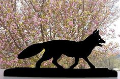 Trotting Fox Handmade Wood Display Silhouette by mountainbrook