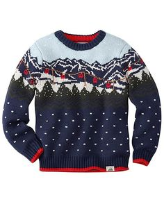 Like a postcard from Sweden that's oh so soft and comfy. He can pull on this easy-fit crewneck sweater and be cozy just like that.   <br>•Supersoft cotton/nylon/wool yarns <br>•Sweaterknit in scenic Fair Isle <br>•Sturdy ribbed crew neck, cuffs and hem <br>•Machine wash <br>•Imported