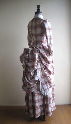 Robe a la polonaise tartan dress, 19th C
