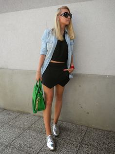 Shop this look for $97:  http://lookastic.com/women/looks/sunglasses-and-shirt-and-cropped-top-and-mini-skirt-and-tote-bag-and-oxford-shoes/3389  — Black Sunglasses  — Light Blue Denim Shirt  — Black Cropped Top  — Black Mini Skirt  — Green Leather Tote Bag  — Silver Leather Oxford Shoes