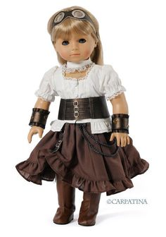 "Steampunk Outfit  with Goggles, Corset, Tall Boots and Arm Bands fits 18"" Dolls like American Girl or Our Generation:"