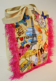 Meet Me In Paris Canvas Tote With Custom Hot Pink Custom Fabric Applique Designby paulagsell, $48.00