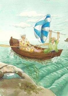 ^Grannies in a Boat^   Artist ~Inge Look~