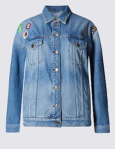 Loose Fit Assorted Badge Denim Jacket