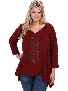 Karen Kane Plus Size Fashion Mahogany Plus Size Red Sky Roll Up Sleeve Embellished Top available from 6PM #Karen_Kane #6PM #Designer #Plus #Size #Clothing #Plus_Size_Fashion #ScoreScore