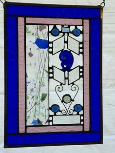 Cobalt blue with confetti stained glass window hanging