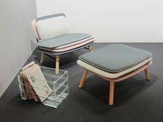 Chair, foot stool and magazine rack, by Italian design company Skrivo