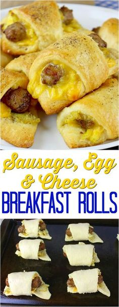 Breakfast Recipes Sausage, Egg & Cheese Breakfast Rolls recipe from The Country Cook What's For Breakfast, Breakfast Items, Breakfast Dishes, Breakfast Casserole, Country Breakfast, Breakfast Appetizers, Tasty Breakfast Recipes, Dinner Recipes, Fun Easy Breakfast Ideas