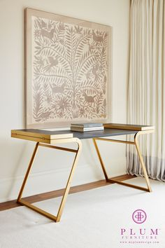 """The Bryson Desk is featured in the June 2016 Issue of Elle Decor in the """"What's Hot"""" section. Desk Inspiration, Vanity Bench, Vignettes, Furniture Decor, 3d Design, Plum, Paint Colors, Desks, Vintage Style"""