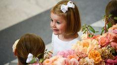 Prinsessan Estelle var en av brudnäbbarna vid bröllopet mellan prins Carl Philip och Sofia Hellqvist i Slottskyrkan i Stockholm. TT.