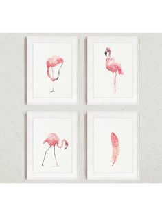 Flamingo Whimsical Art Print Set 4, Pink Kids Nursery Room Decor, Feather…