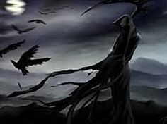 Image result for art with grim reaper and cemetery full moon etc