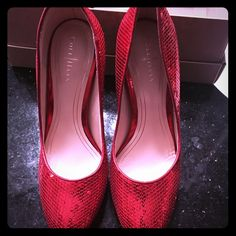 Cole Haan Chelsea Tango Red Sequin High Pump Some of the last cole haan pumps with Nike technology I believe!  These are super cute and only worn a few times. In great condition. Cole Haan Shoes