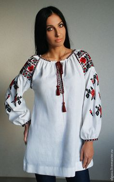 Embroidered blouse tunic Romance time by Handembroiderykvitka
