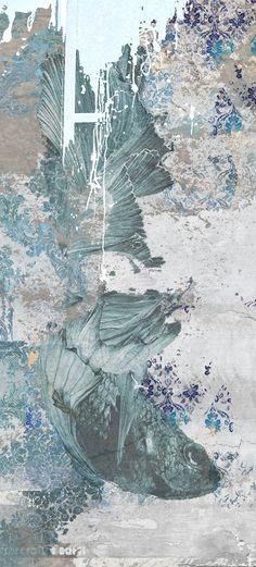 Carta da parati / Wall paper: KOI #Tecnografica #ItalianWallcoverings #cartadaparati #wallpaper #blu #blue #arredamentodinterni #interiordesign #design #moderna #soggiorno #bagno #natura #animali #ideas #modern #livingroom #bathroom #nature #fish